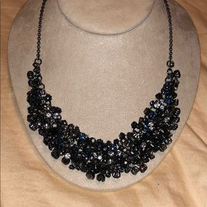 Talbots necklace silver and sapphire crystal
